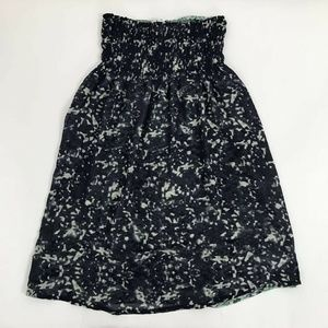 Cabi A Line Skirt Blue White Abstract Smocked XS
